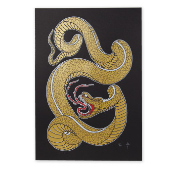 "William Yoneyama ""Golden Snake"" Screen print"